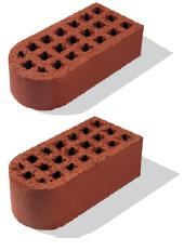 Кирпич керамический лицевой пустотелый фасонный с двумя закруглениями одинарный/утолщенный